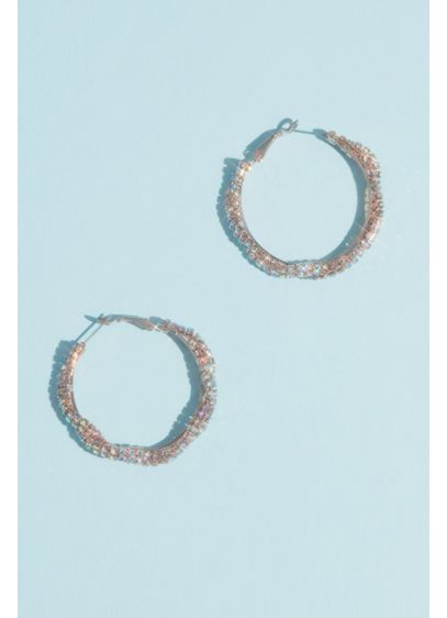 Iridescent Crystal Twist Hoop Earrings - Simple yet intricate, this stunning pair of earrings